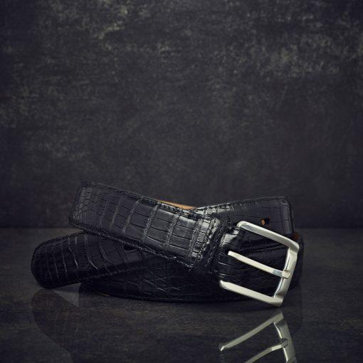 Fausto Colato Caimanleder-Gürtel Breite 3 cm schwarz