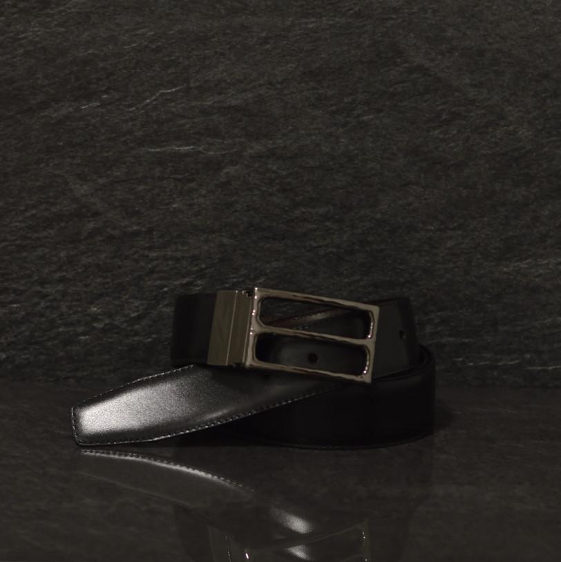 Possum Leder Wendegürtel schwarz / braun mit edler Dornschließe