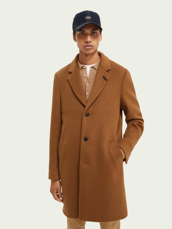 Scotch&Soad Einreihiger Mantel aus Wollmischung in tabacc