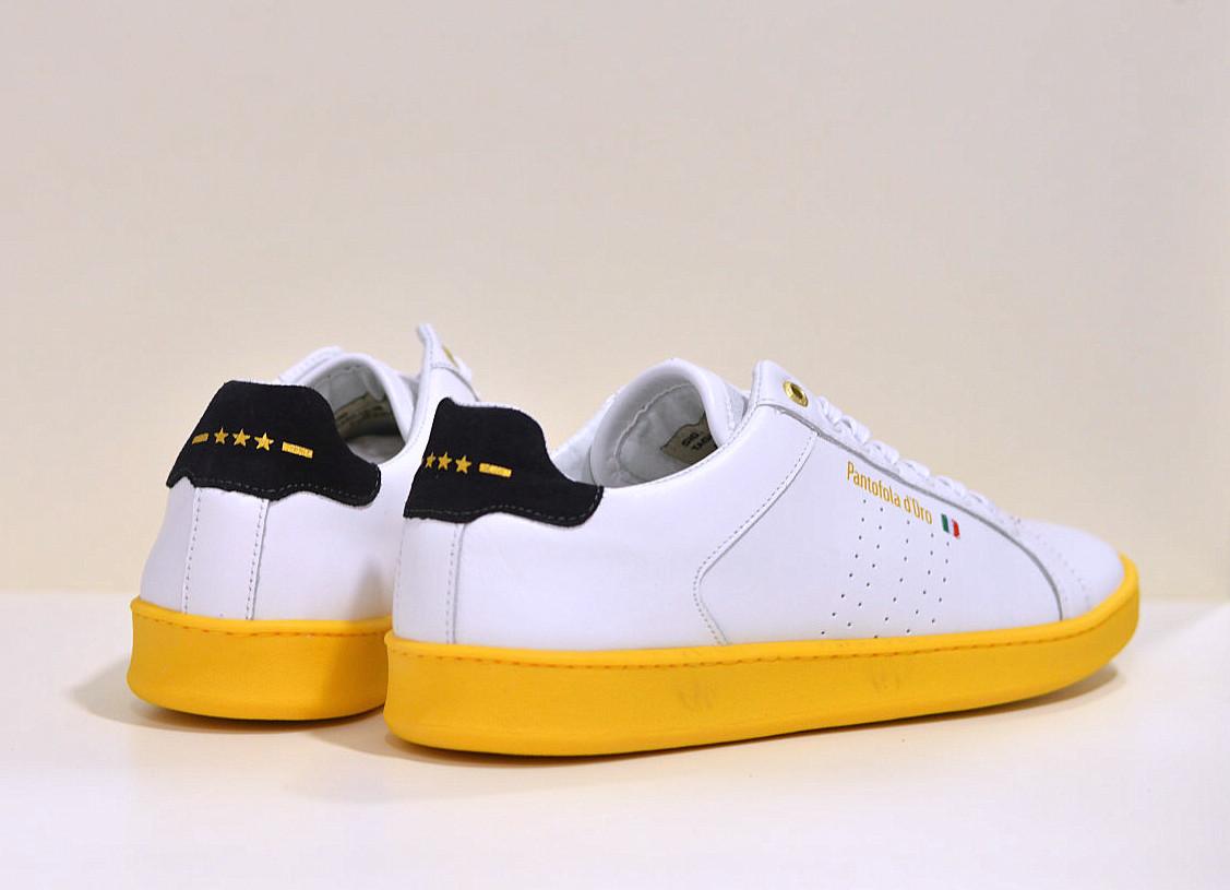 Pantofola d´Oro leder Sneaker Arona White / Neon Gelb