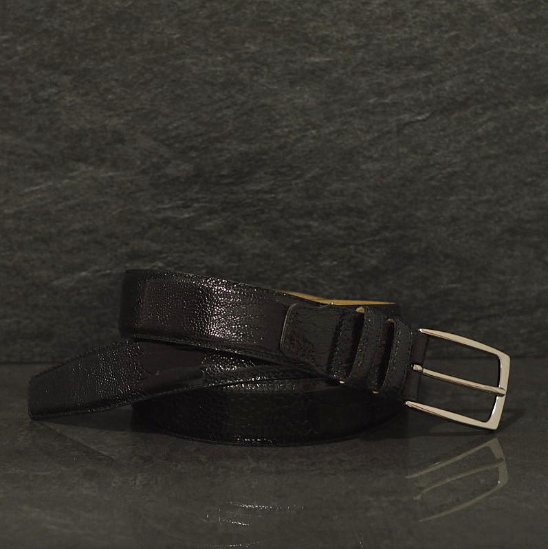 Possum Reptilienleder-Gürtel Strauß / Ostich Breite 3,5 cm schwarz