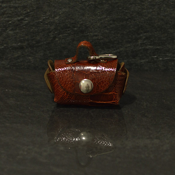 Ralph Gladen Clean to Go Doggy Bag aus Straußleder mit Karabiner befestigung cognac