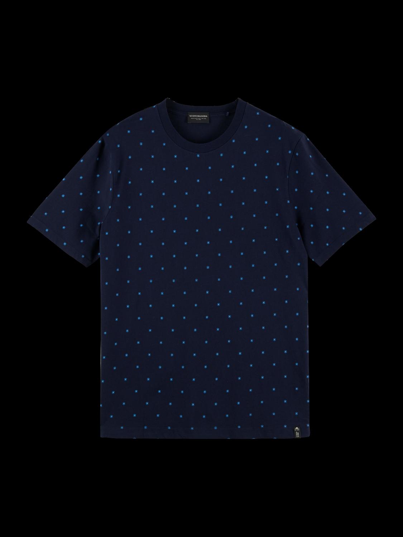 Scotch&Soda Baumwoll-T-Shirt mit Rundhalsausschnitt und Print / blau