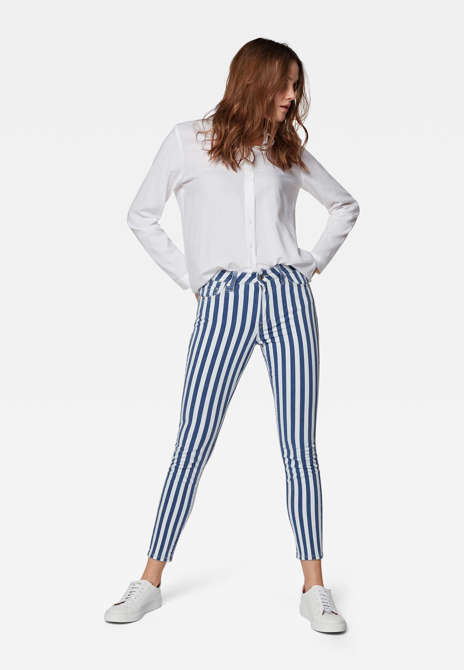 Mavi Tess Super Skinny Jeans mit  hohem Bund white Stripe