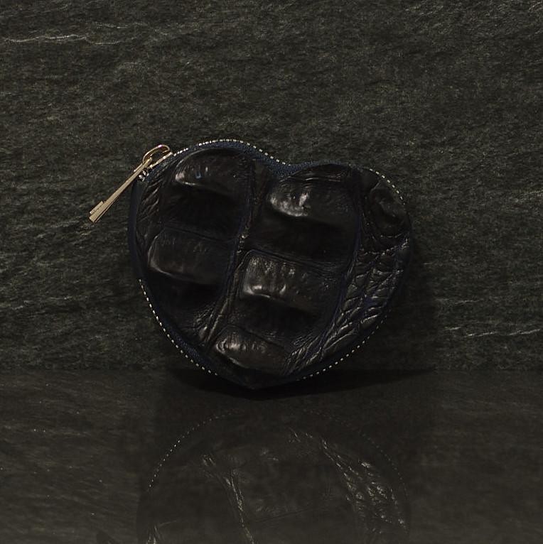 Ralph Gladen herzfömige Geldbörse für Kleingeld aus Krokodilleder Hornback blau