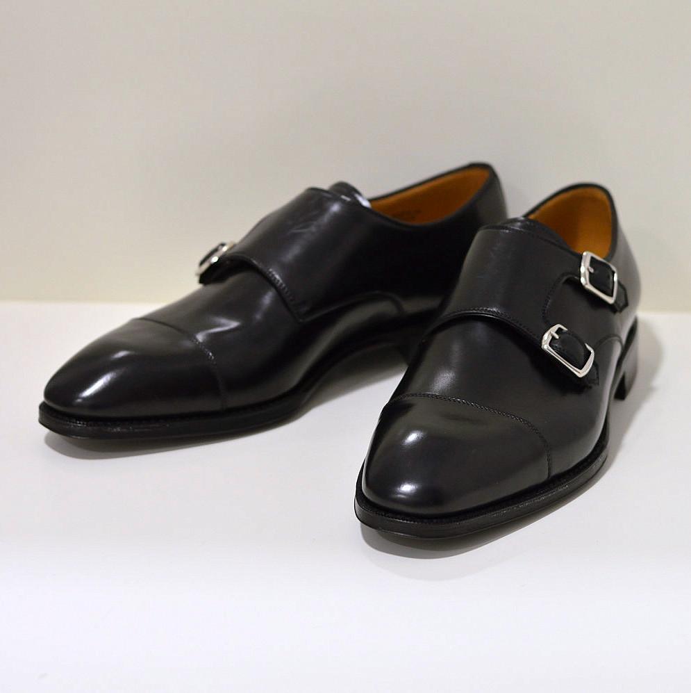 Berwick Businessschuh aus Cordovan-Leder / Pferdeleder in Doppelmonk-Form, schwarz 5218