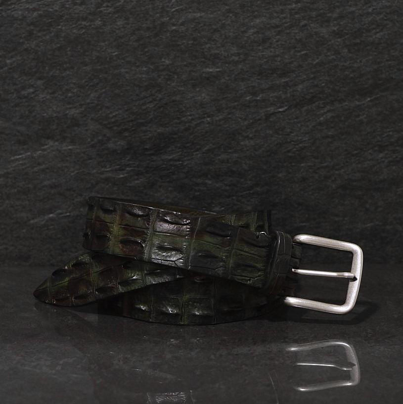 Fausto Colato Krokodilleder Gürtel Breite 4,0 cm grün/ Camouflage