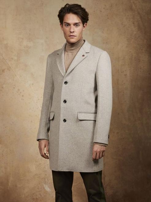 Scotch&Soda Klassischer einreihiger Mantel aus Wollmischung  in beige