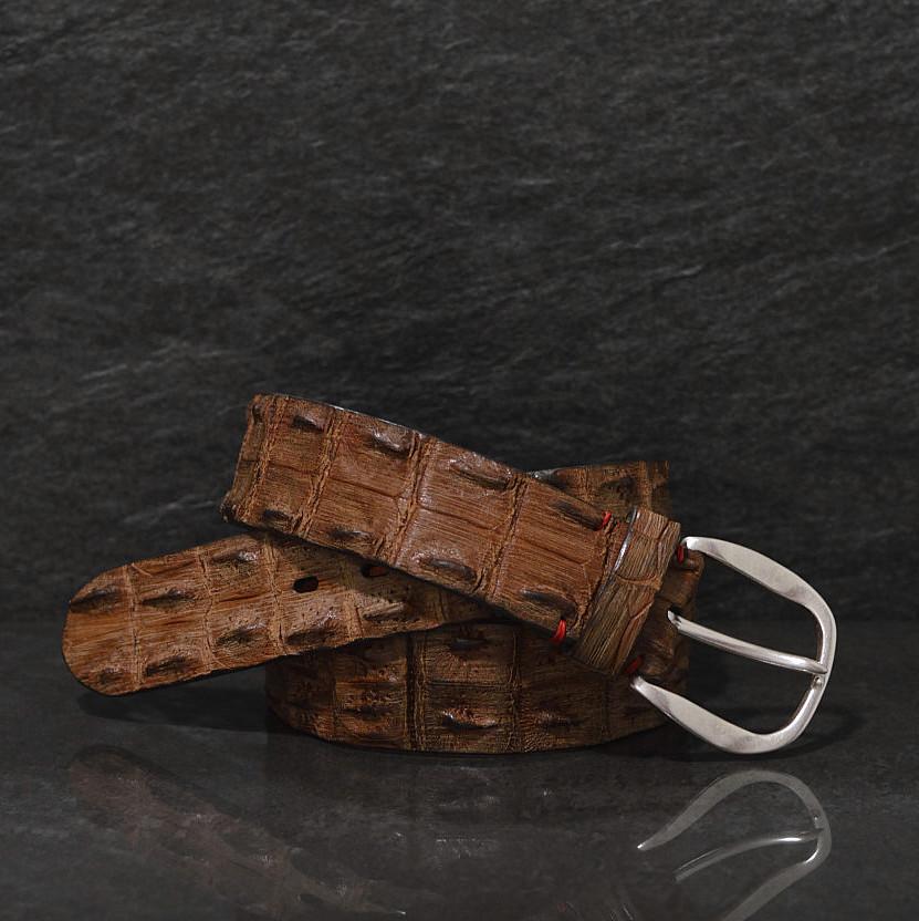 Fausto Colato Krokodilleder-Gürtel Sonderbreite 4,5cm matt gebürstetet Finish