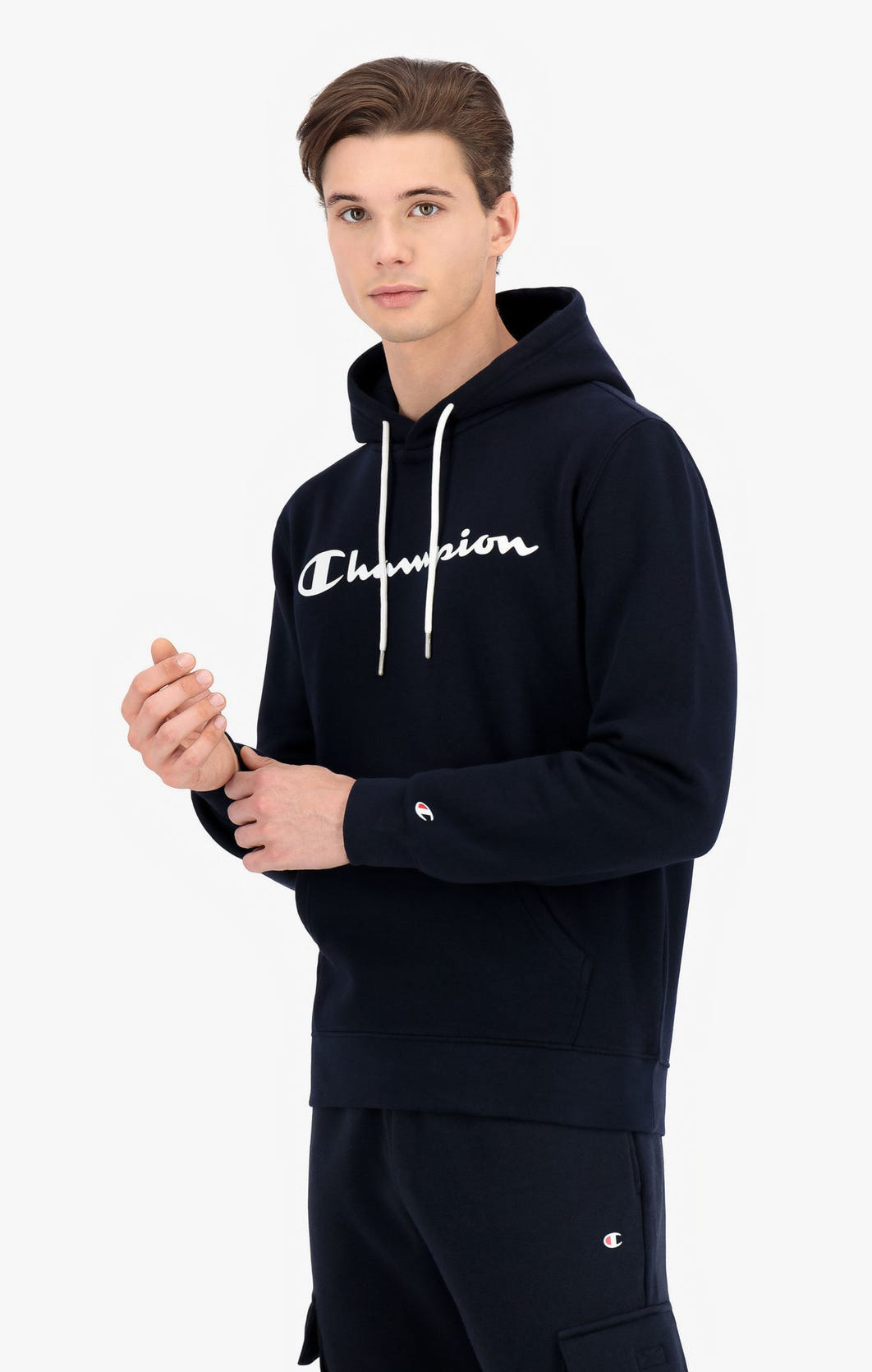 Champion Kapuzenpullover aus Baumwollfrottee mit Printlogo-Schriftzug dunkelblau