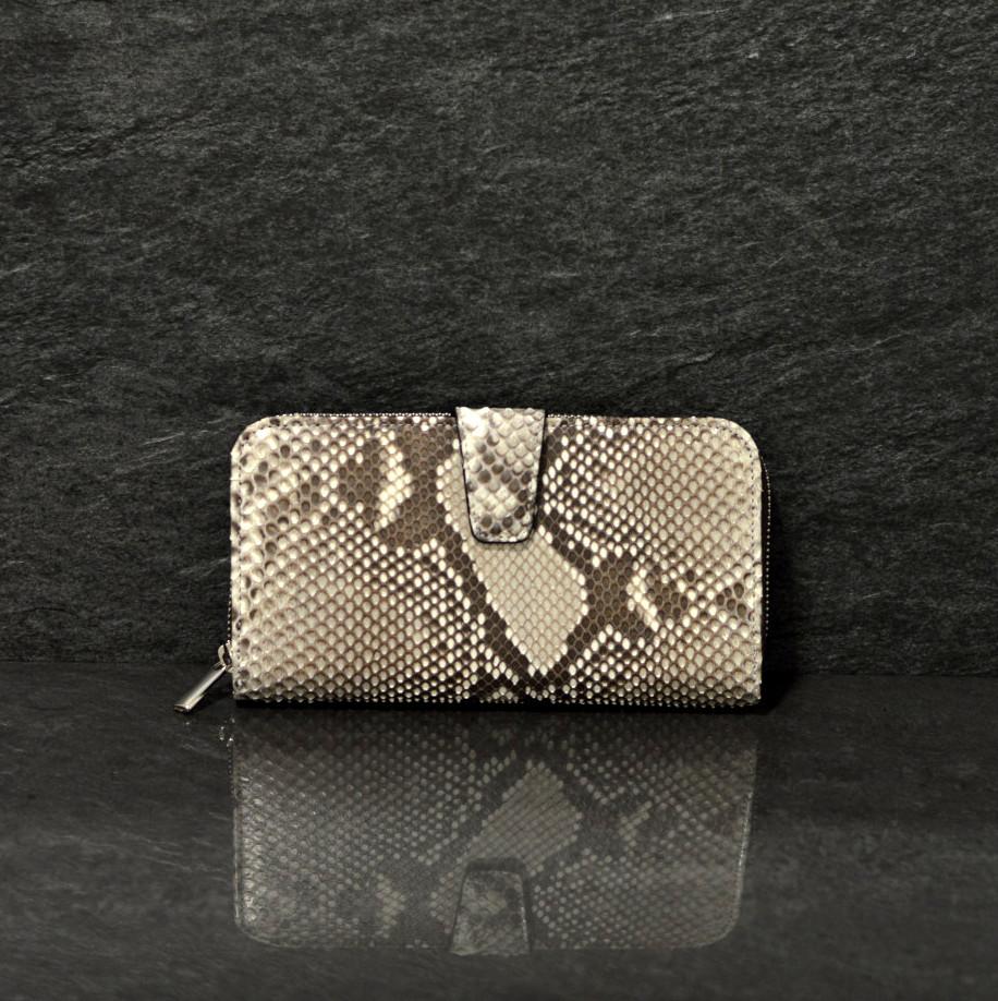 Fausto Colato große Geldbörse / Portemonnaie aus Python-Schlangenleder zweigeteilte mit sehr viel Platz