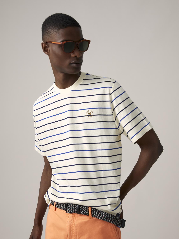 Scotch&Soda Gestreiftes T-Shirt im Regular Fit aus merzerisierter Baumwolle