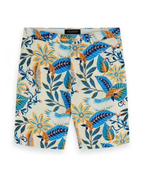 Scotch&Soda  Chino-Shorts mit Print  Blumen und Ranken