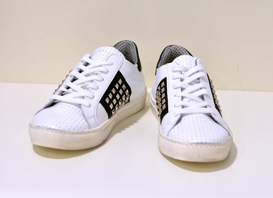 Keep Calm Leder Sneaker ein weiß mit Nieten