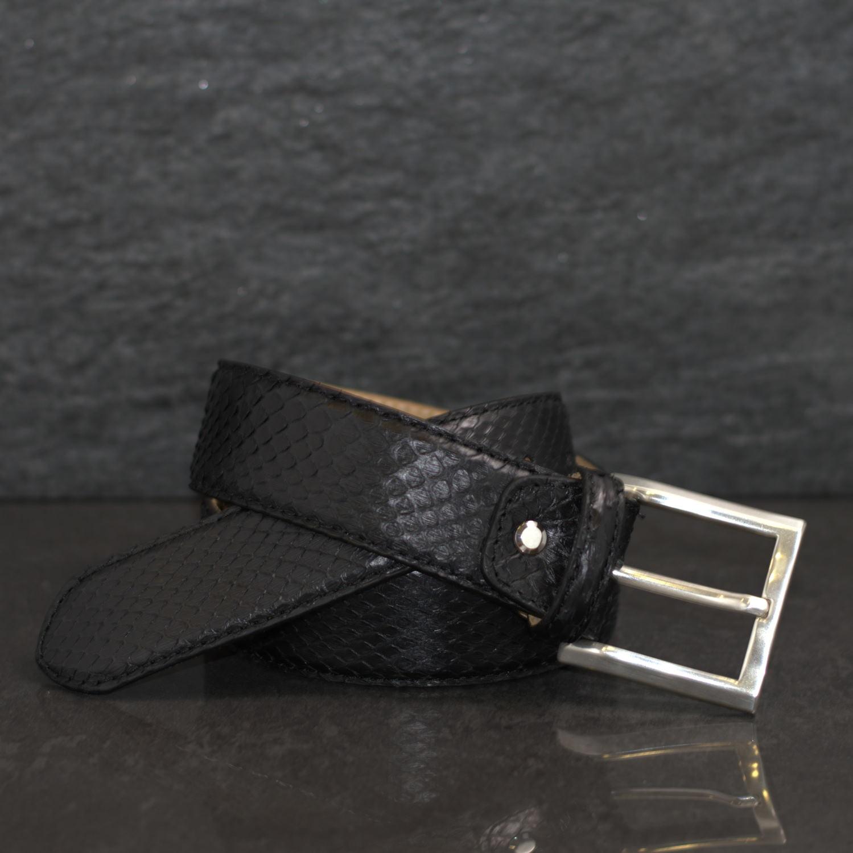 MGM Schlangenleder-Gürtel Python Breite 4,0cm Schwarz