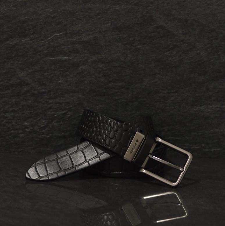 Possum schwarzer Leder Gürtel in Kroko optik Breite 4,0 cm