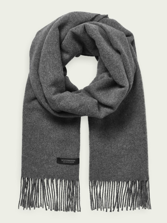 Scotch&Soder Oversize Schal mit Fransen aus Wollmischung unisex in grau