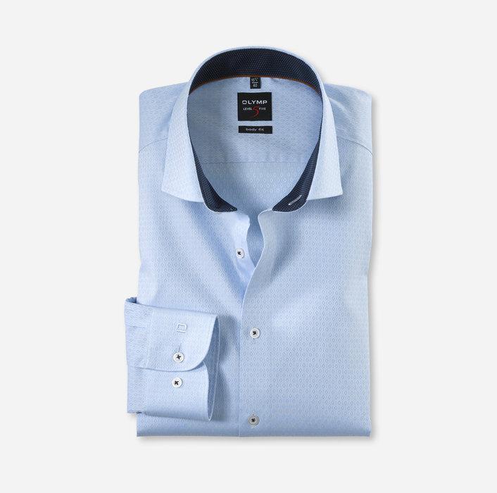 OLYMP Level Five, body fit, Businesshemd mit Textur, Royal Kent, Bleu