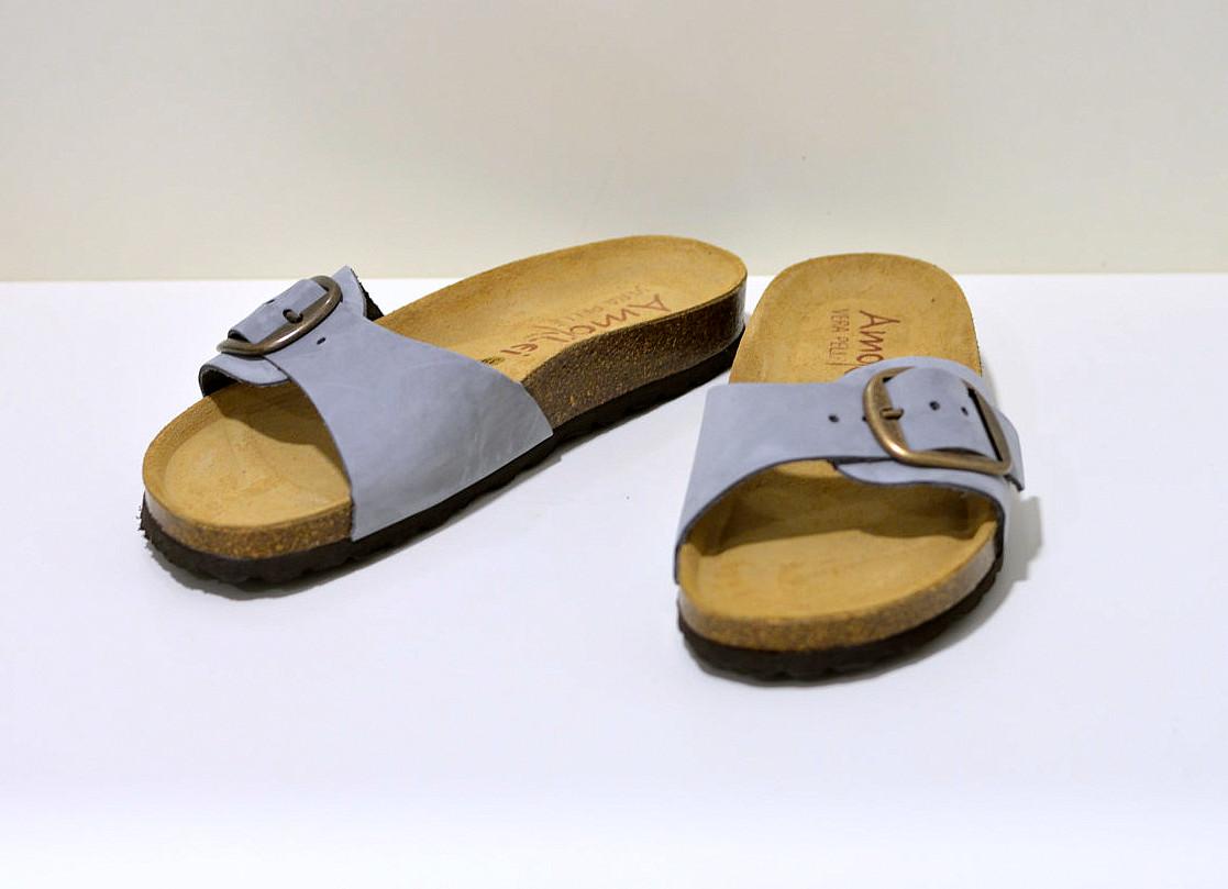 Bio Color´s Damen Sandale Einriemer aus Leder in grau