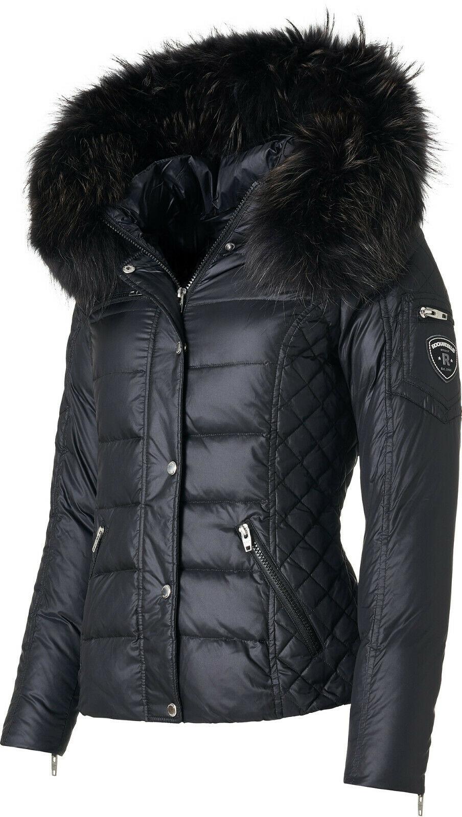 RockandBlue Zora Black / Black Daunen Jacke mit extra großem Echtfellkragen Saison 2021