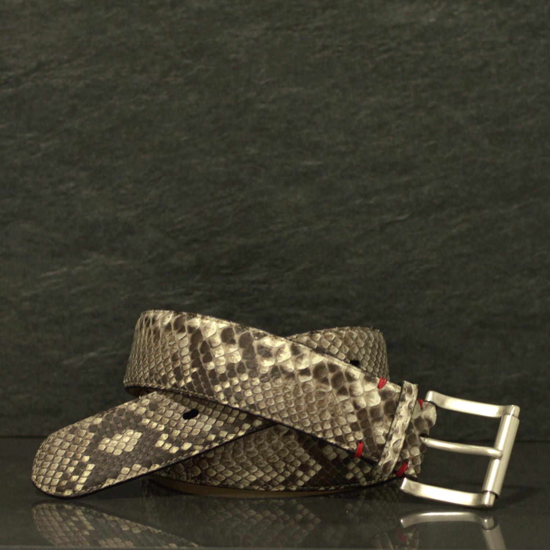Fausto Colato Schlangenleder-Gürtel Python Breite 4,5 cm natur
