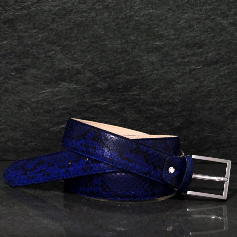 MGM Schlangenleder-Gürtel Python Breite 4,0cm blau Lagune