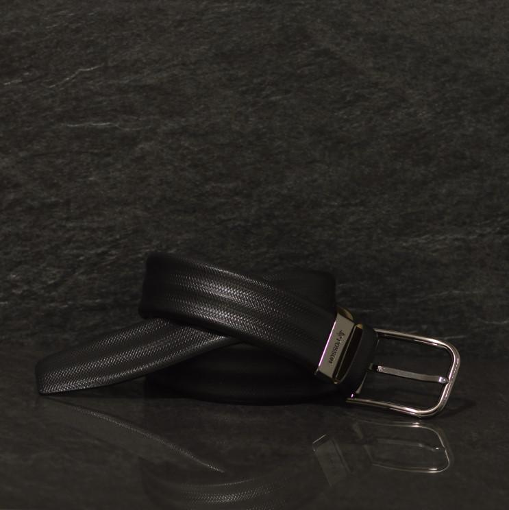 Possum schwarzer Leder Gürtel mit feiner Strucktur 3D Oberfläche in 4,0 cm