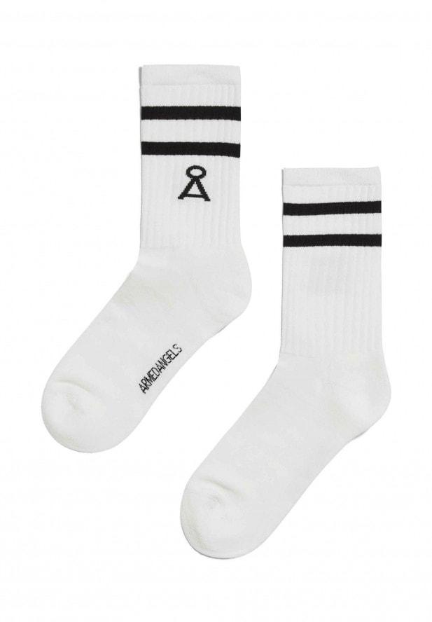 Armedangels SAAMU STRIPES Socken aus Bio-Baumwoll Mix snow white-black