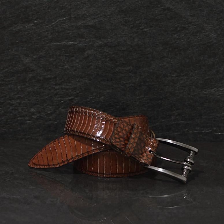 Ralph Gladen Schlangenledergürtel Cobra / Kobra Breite 3,5 cm braun