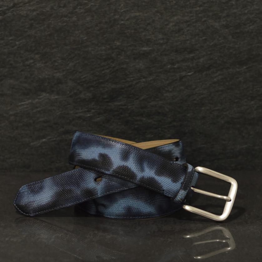 Fausto Colato Waran Gürtel Breite 4,0 cm blau / Camouflage Varano