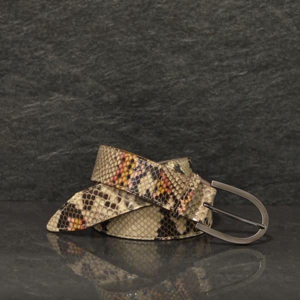 Ralph Gladen Schlangenledergürtel Python Breite 3,5 cm Multicolore / Handbemalt
