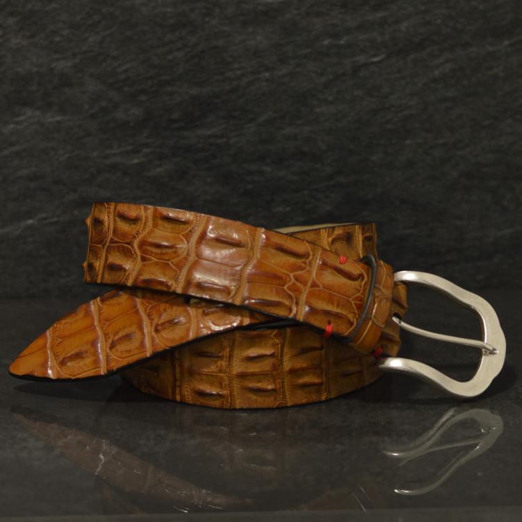 Fausto Colato Krokodilleder Gürtel Breite 4,0 cm cognac Crocodile Hornback