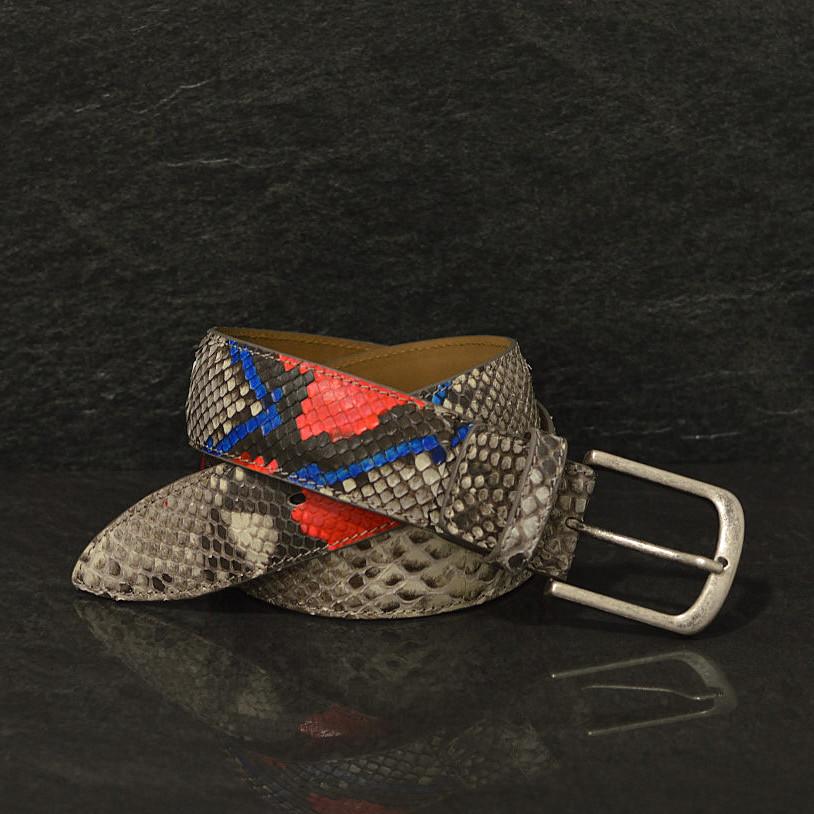 Ralph Gladen Schlangenleder-Gürtel Python Sonderbreite 4,5cm natur bemahlt mit blau / rot