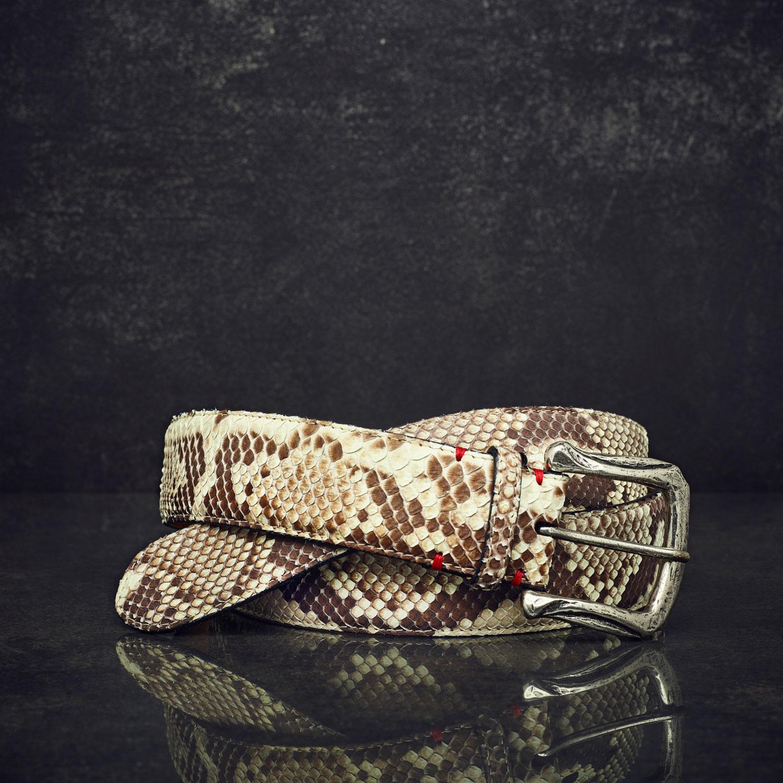 Fausto Colato Schlangenleder-Gürtel Python Breite 4 cm Naturbelassen