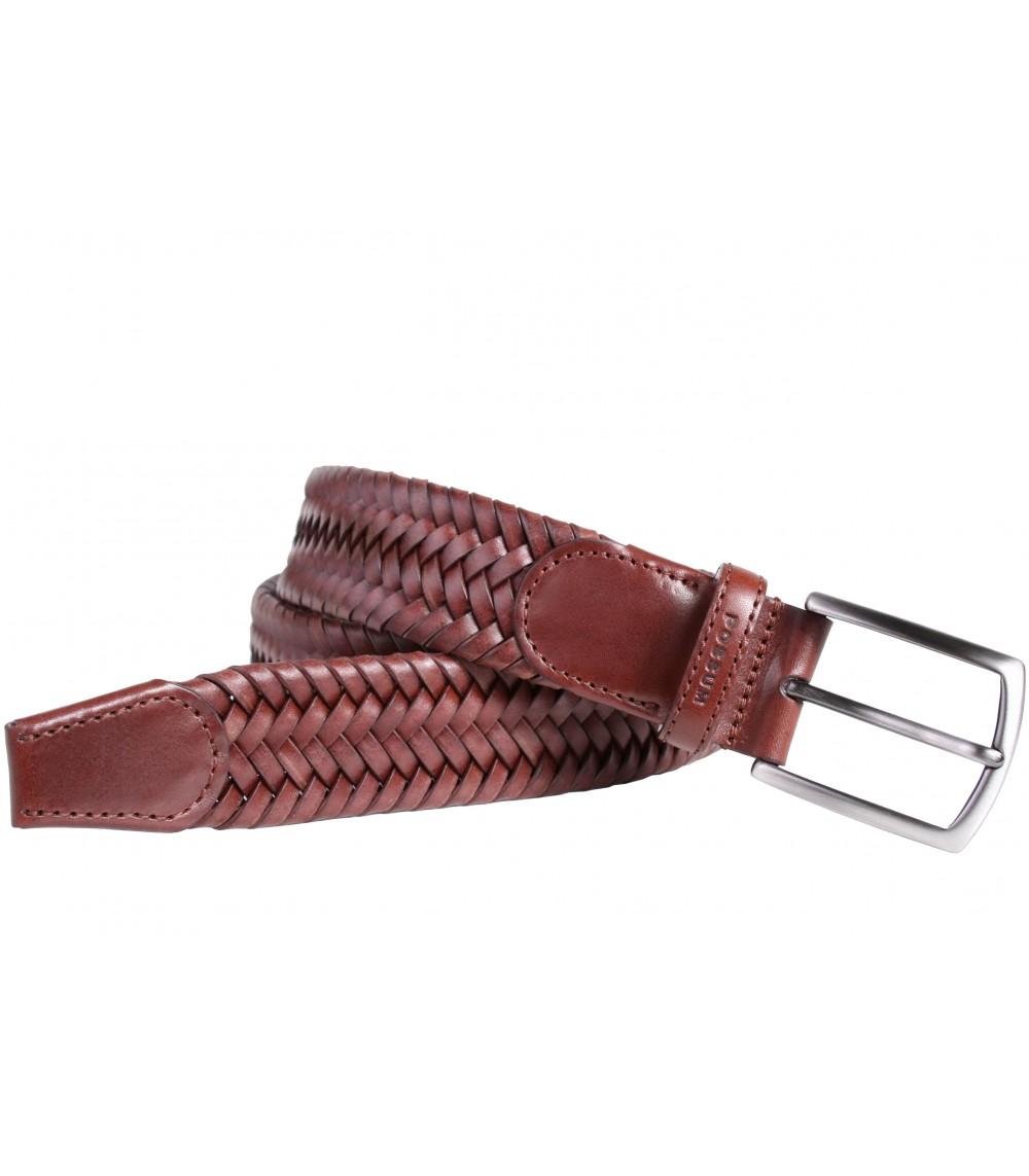 Possum elastischer geflochtener Gürtel aus gebundenem Leder mit schwarzer Satin-Nickel-Schnalle