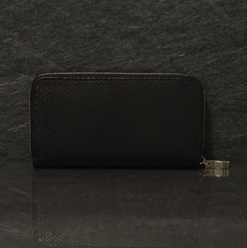 Fausto Colato große Geldbörse / Portemonnaie aus Python Schlangen Leder in schwarz