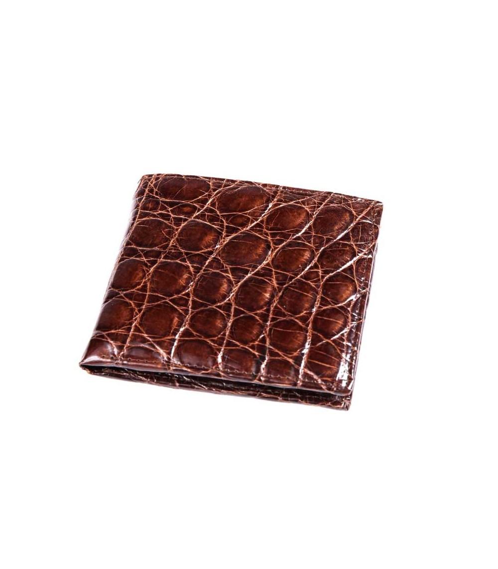 Possum Geldbörse aus feinstem Krokodilleder American double Card Holder braun CROCODILE