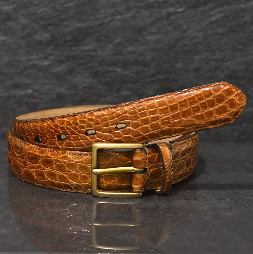 Fausto Colato Krokodilleder-Gürtel Flanke Breite 3,5cm cognac diamant