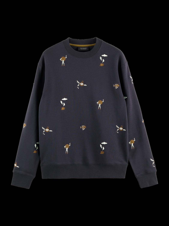 Scotch&Soda Besticktes Sweatshirt mit Rundhalsausschnitt in dunkelbau