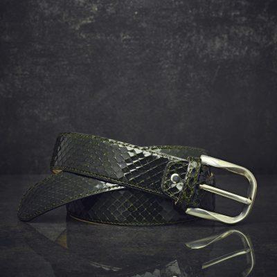 MGM Schlangenleder-Gürtel Python Breite 4,0cm Diamantgrün