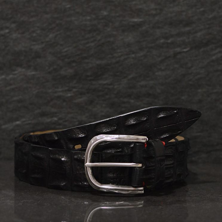 Fausto Colato Krokodilleder Gürtel Breite 4,0 cm schwarz Crocodile Hornback