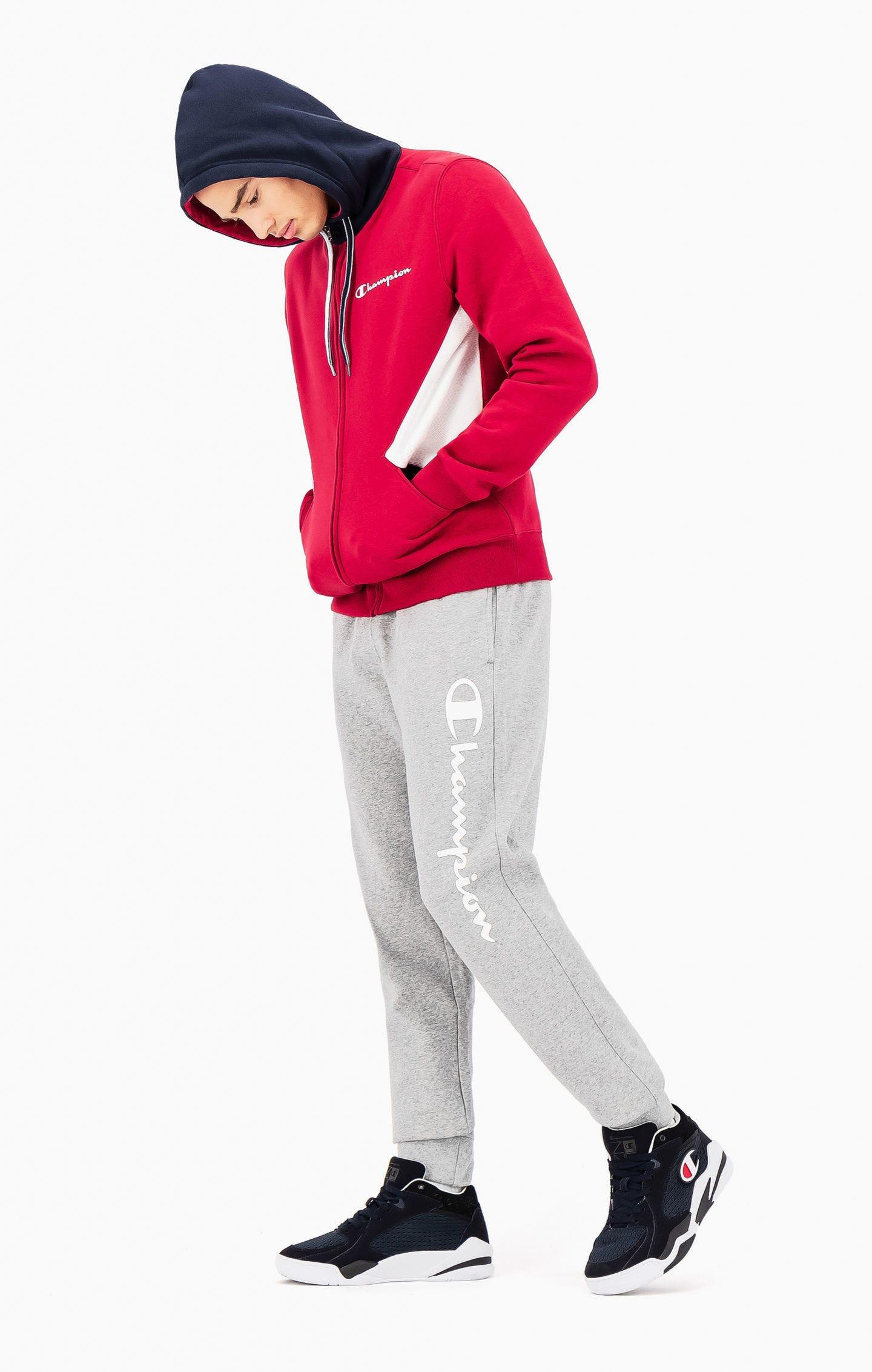 Champion Jogginghose aus recyceltem Baumwollfrottee mit Printlogo grau