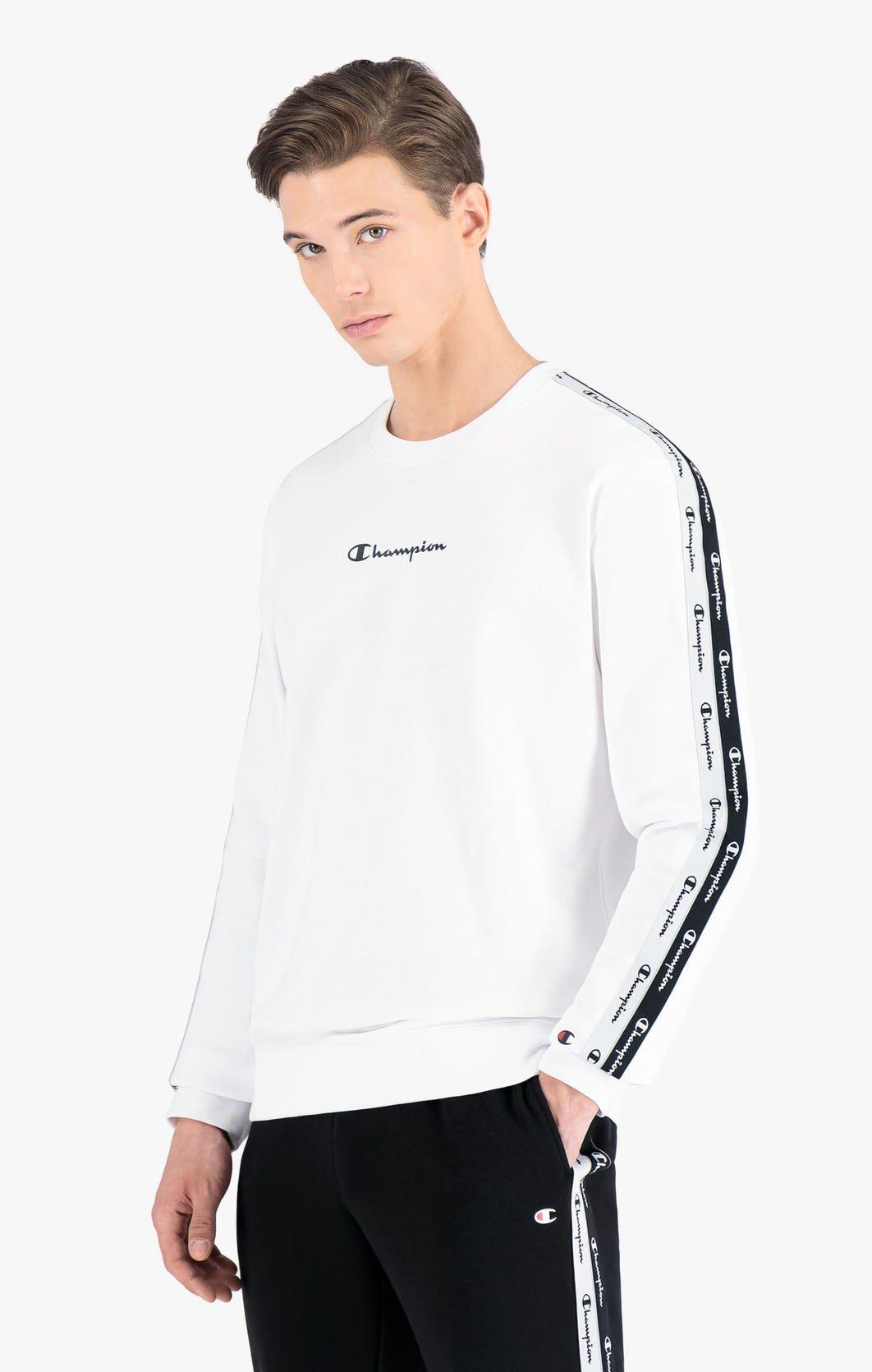 Champion Sweatshirt in weiss aus Baumwollfrottee mit doppelter Logopaspel