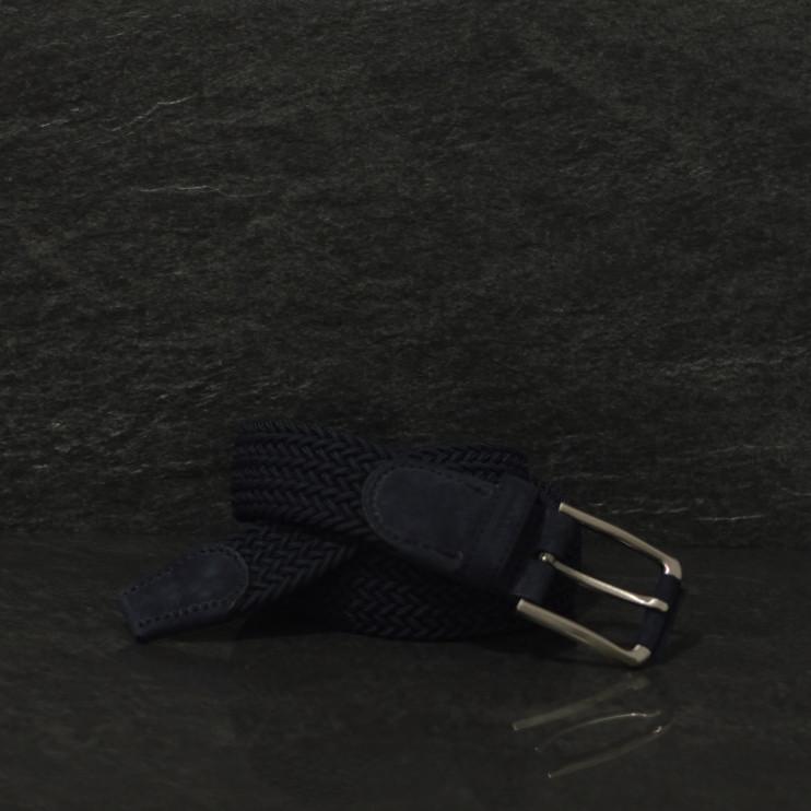 Possum Flechtgürtel mit stilvollen Lederapplikationen in dunkelblau
