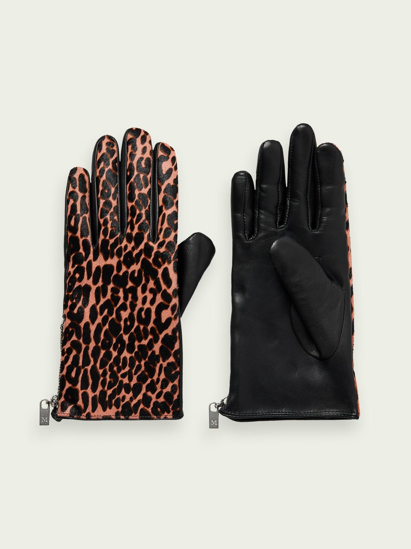 Scotch&Soda Lederhandschuhe mit Animal-Print