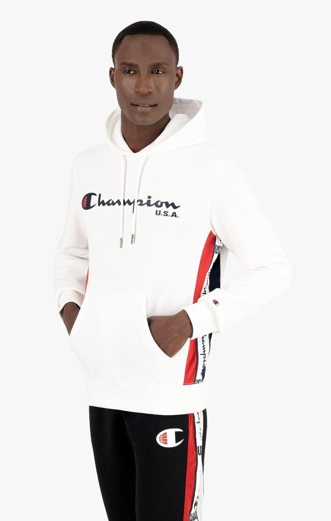 "Champion Fleece-Kapuzenpullover mit ""Champion USA""-Logo und Logopaspel"