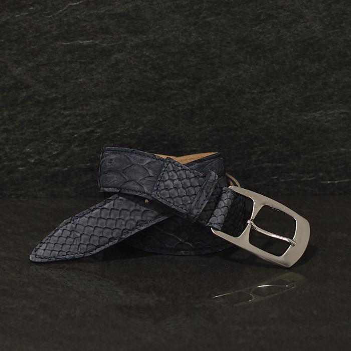 Ralph Gladen Schlangenledergürtel Python Breite 3,5 cm dunkelblau matt