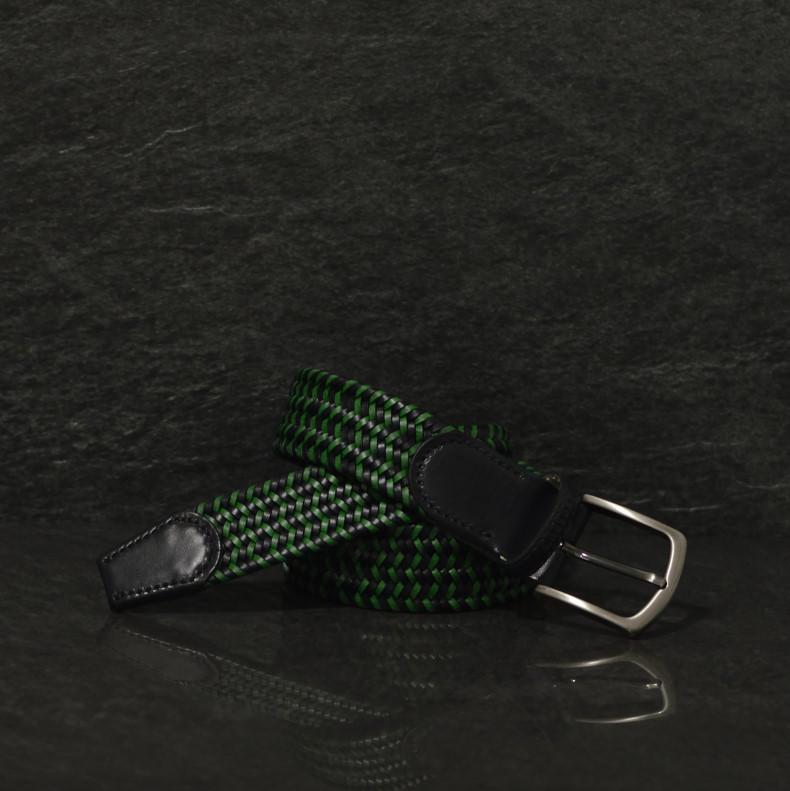 Possum geflochtener Leder Gürtel Breite 4,0 cm in schwarz / grün