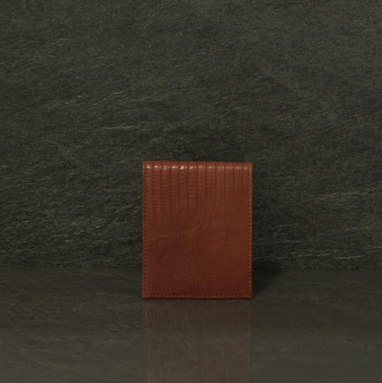 Fausto Colato Lizardleder-Geldbörse Rieseneidechse ohne Münzfach Braun