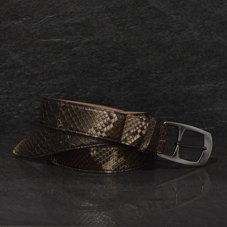 Ralph Gladen Schlangenledergürtel Python Breite 3,5 cm Erdtöne